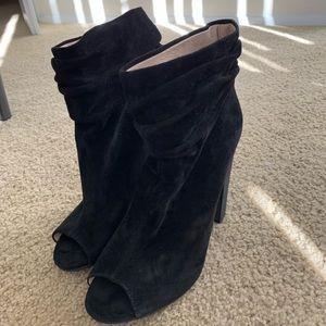 Black open toe heeled booties